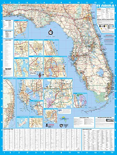 - Florida State Laminated Wall Map Poster 36x48