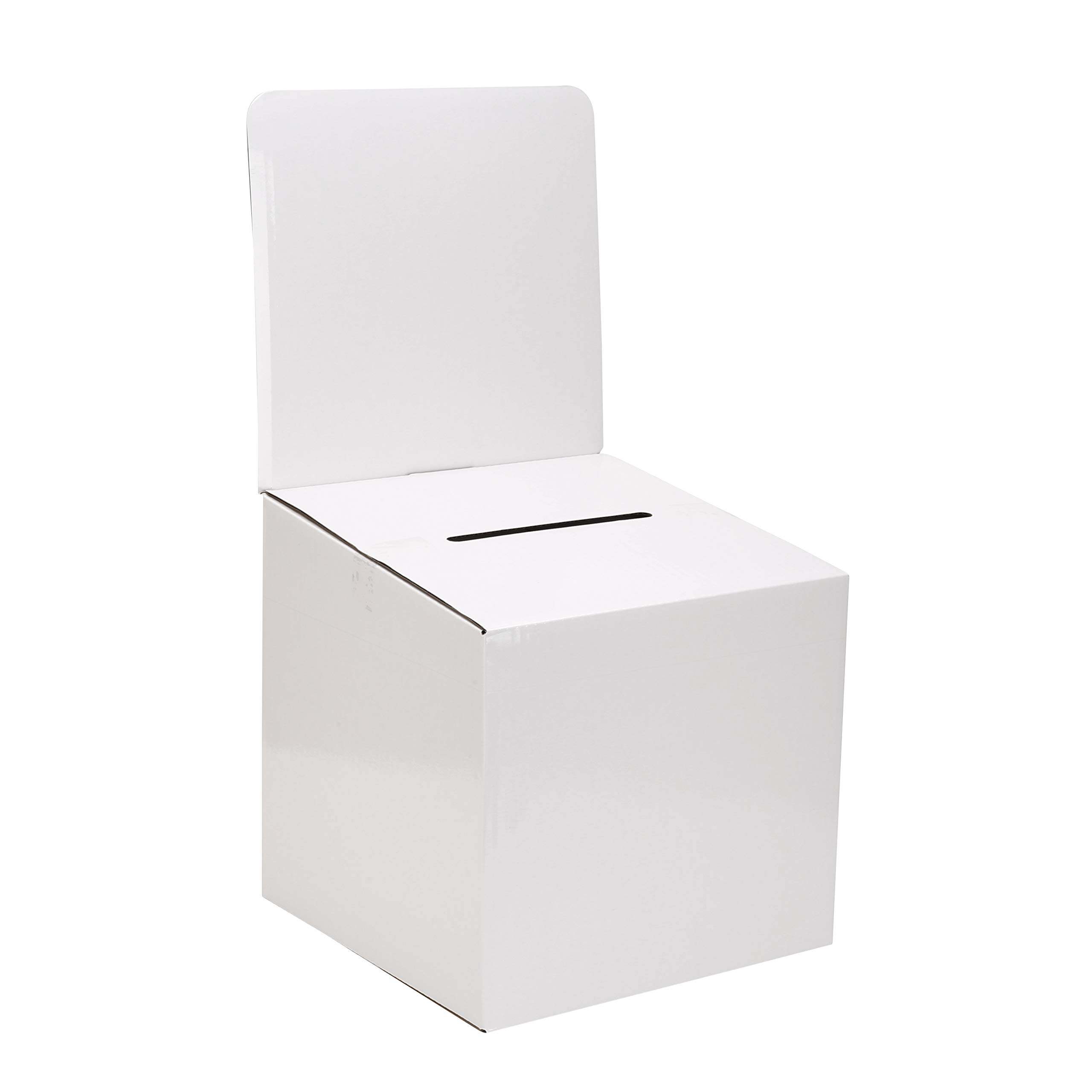 MCB - Medium Cardboard Box - Ballot Box - Suggestion Box - Raffle Box - Ticket Box - with Removable Header for Tabletop Use (10 Pack) by My Charity Boxes