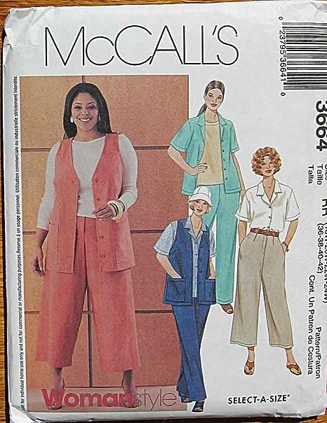 McCall s 3664 – Patrones de costura para camisa, chaleco ...