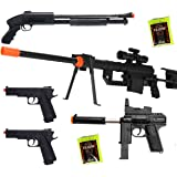 Shop-4-Airsoft5 Gun Package P1200 Sniper & Shotgun & 2 Pistols & 2000 BBs