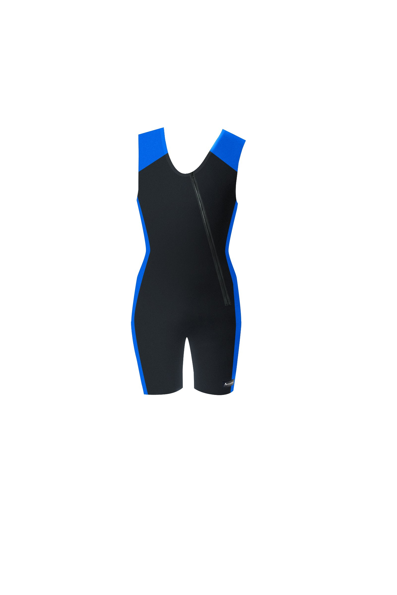 Aeroskin 1mm Neoprene Sleeveless Shorty with Slant Front Zip and Spine/Kidney Pad (Black/Blue, Large)
