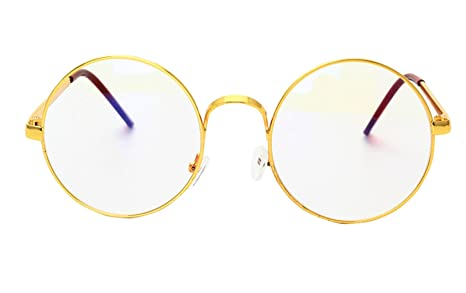 7aceee9d5e83 Image Unavailable. Image not available for. Colour  MaxAike 1 Retro Metal  Frame Clear Lens Circle Glasses Plain Mirror ...