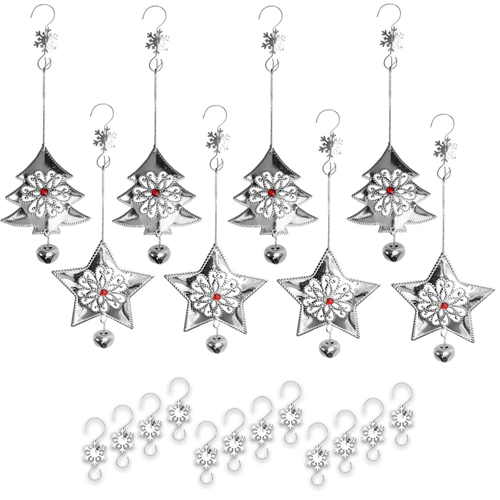 """Metal Christmas Ornaments and Hooks – 16 Piece Set of Assorted 3"""" Silver Holiday Xmas Ornaments with Snowflake Hooks - Craft Ornaments Banberry Designs 3527"""