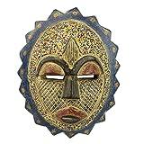 NOVICA Decorative Aluminum Glass Cultural Mask, Multicolor 'Speckled Sun'