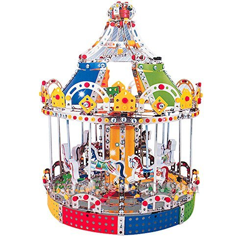 (IQ Toys Carousel Merry Go Around Building Model with Metal Beams and Screws Lights & Music 1423)