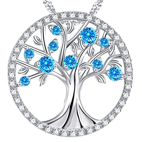 Circle Pendant Sterling Silver Jewelry (The Tree of Life Love Necklace Created Aquamarine Pendant Jewelry Mothers Day Anniversary Gift for Women for Mom Family Sterling Silver)