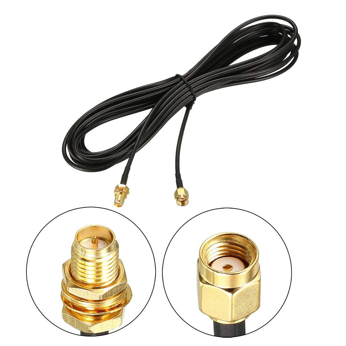 Antenna Extension Cable RP-SMA Male to RP-SMA Female Low Loss 33 feet RG174 2 Pieces