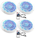 (4) Rockville RMC65LW 6.5'' 1200w White Marine Speakers w/Multi Color LED+Remote