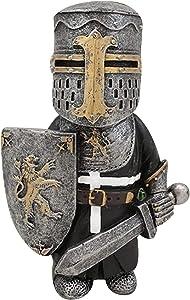 Knight Gnomes Guard,Cross Templar Crusader Figurine Tall Suit of Armor Miniature European Knights Sculptures Decor Make Your Garden More (C)