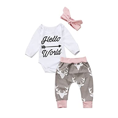 cbadd121179 Amazon.com  Greenafter Newborn Baby Girl Hello World Romper Bodysuit and  Deer Pants Outfit With Headband  Clothing