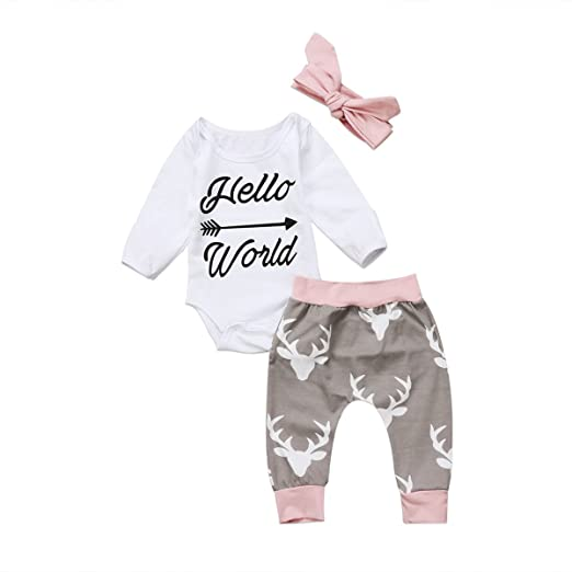 1efd1a6fbfb Amazon.com  Greenafter Newborn Baby Girl Hello World Romper Bodysuit and Deer  Pants Outfit With Headband  Clothing