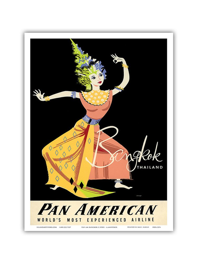 - Thai Woman Classical Dancer Pan American Airlines PAA Bangkok Amspoker c.1950s Vintage Airline Travel Poster by A 13in x 19in Master Art Print Thailand
