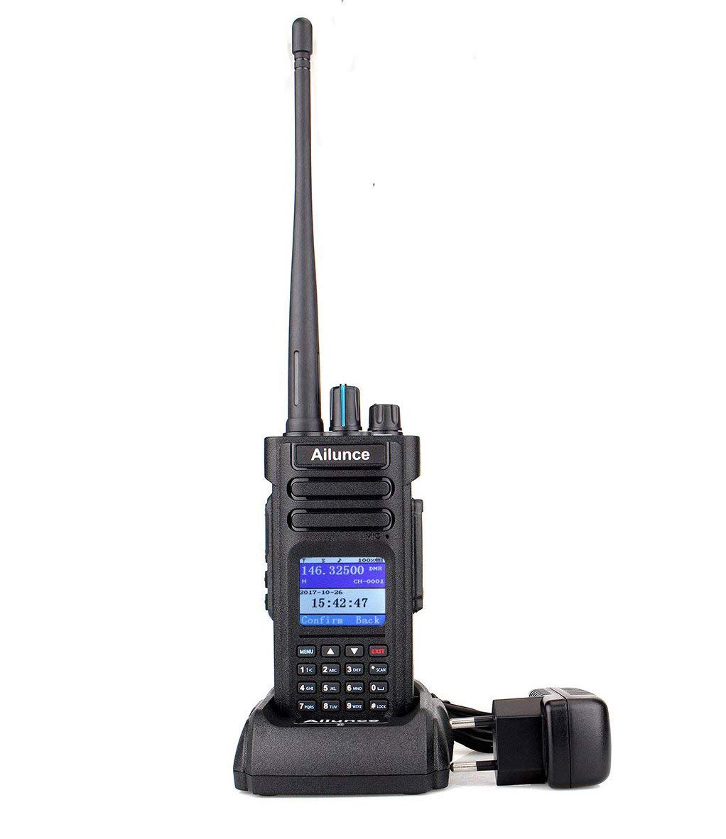 Ailunce HD1 DMR Radio Talkie Walkie Numérique Double Bande Radio Amateur IP67 Étanche FM Radio Compatible avec MOTOTRBO Tier Ⅰ&Ⅱ (Noir)