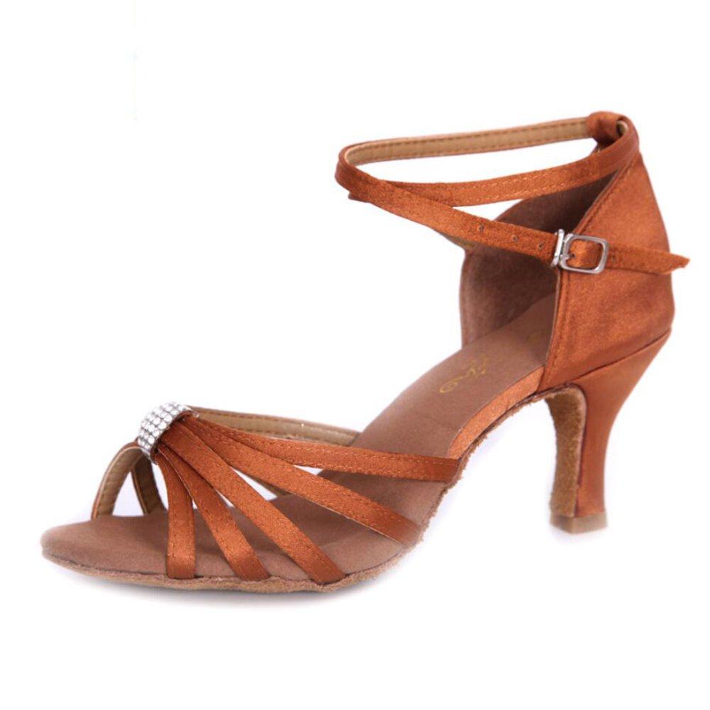 XUE Damen Latin Schuhe funkelnde Glitter Sandale Ballroom Schuhe/Fersen Performance/Professional Strass/Sekt Glitter Flared Heel (Farbe : EIN, Grouml;szlig;e : 36)  36|Ein