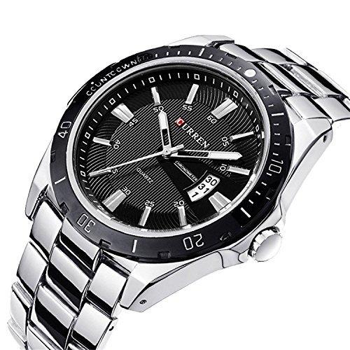 Curren nueva moda hombres del cuarzo Deportes Analog reloj de pulsera 8110 G (plata +
