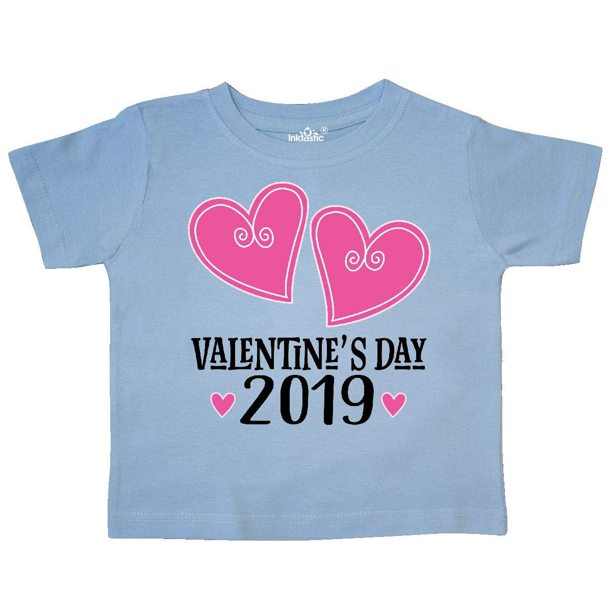 inktastic 2019 Valentine Day Pink Love Hearts Toddler T-Shirt