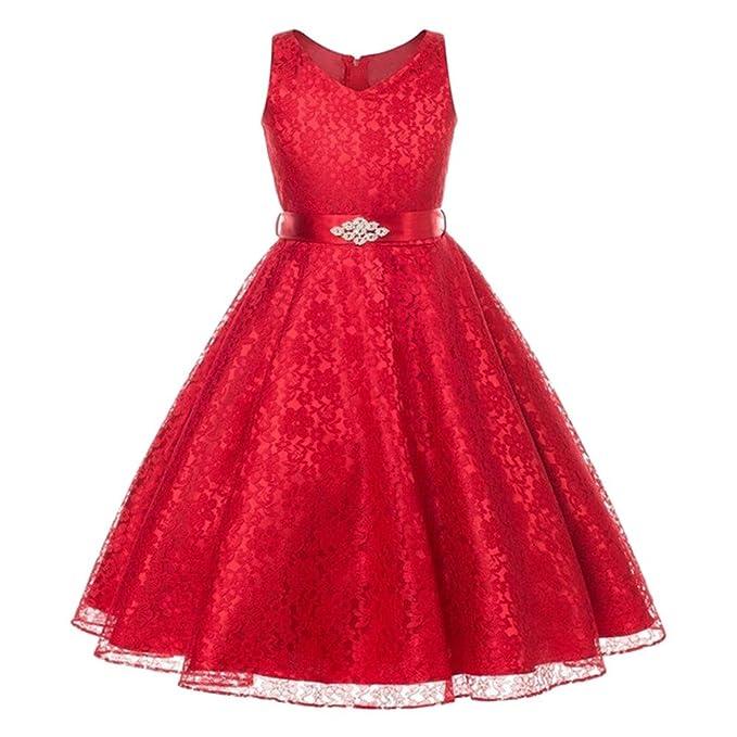 Lisianthus002 - Vestido - para niña Rojo rosso 10 años
