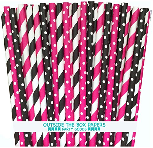 Outside the Box Papers Diva Theme Stripe and Polka Dot Paper Straws 7.75 Inches 100 Pack Hot Pink, Black, White -