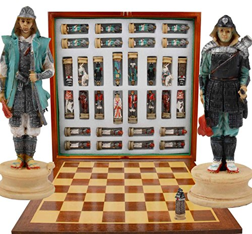 Japanese Shogun Chess Set Game. 32 Resin Pieces with Storage Compartment
