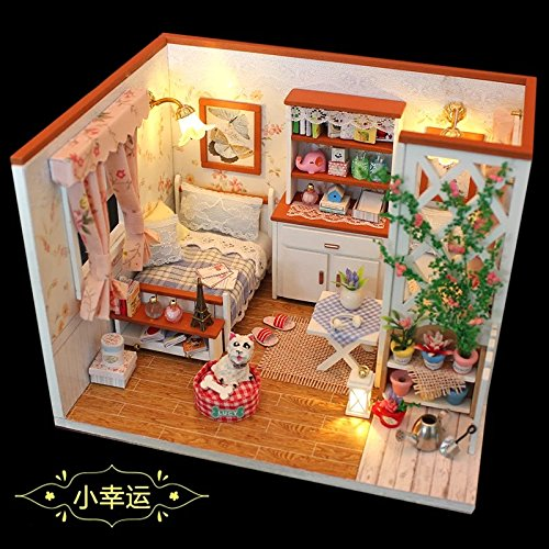A Little Luckiness Flever Dollhouse Miniature DIY House Kit Creative Room With Furniture and Cover for Romantic Valentines Gift