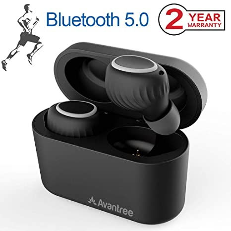 Avantree TWS105 Auriculares Inalámbricos Bluetooth 5.0 con Funda Recargable portátil, Auriculares TWS a Prueba de