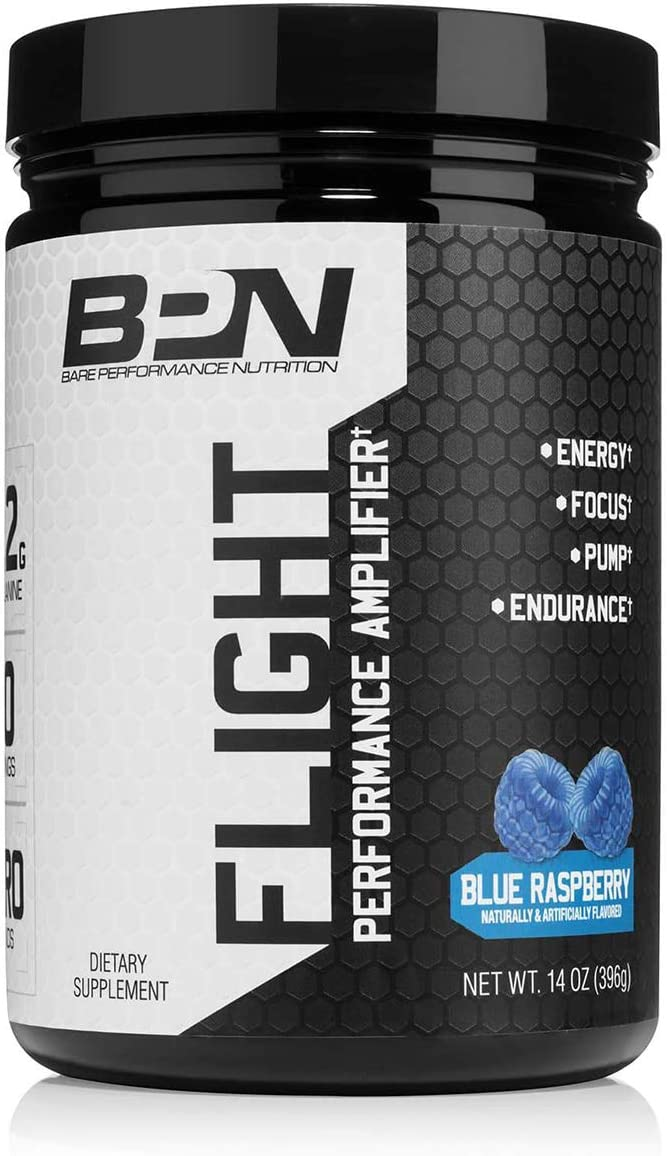 Bare Performance Nutrition, Flight Pre Workout, Energy, Focus Endurance, Formulated with Caffeine Anhydrous, DiCaffeine Malate, N-Acetyl Tyrosine 30 Servings, Blue Raspberry
