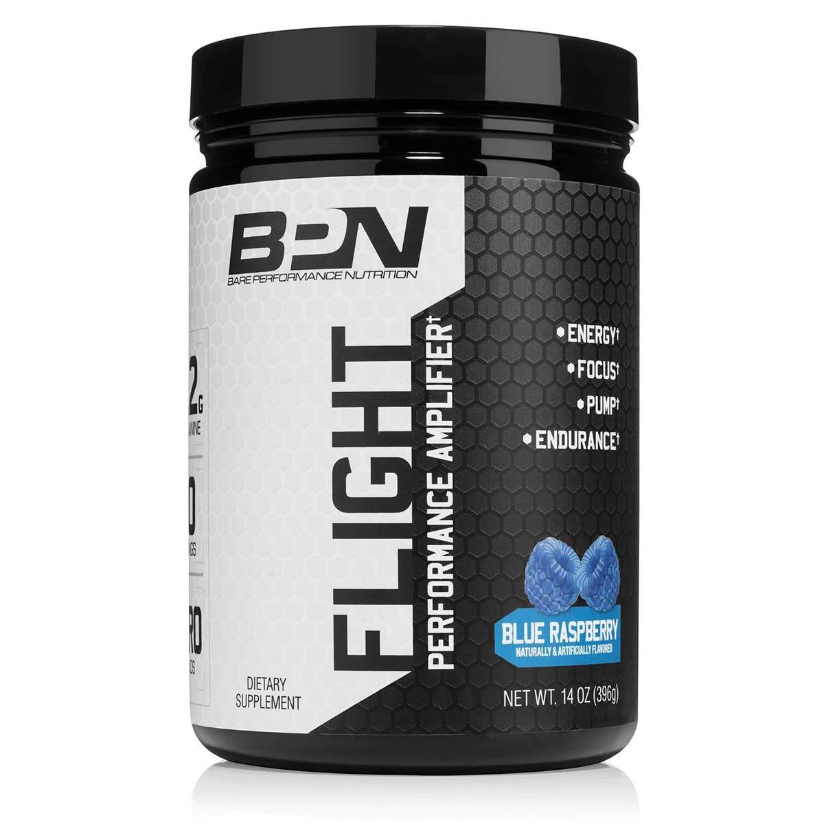 Bare Performance Nutrition | Flight Pre-Workout | Energy, Focus & Endurance (30 Servings, Blue Raspberry)