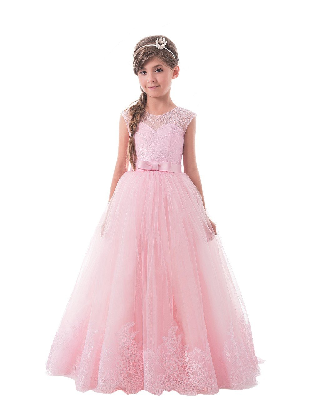 Lilis Lovely Princess Tulle Lace Appliques Flower Girls Dresses Sleeveless Pageant Gowns