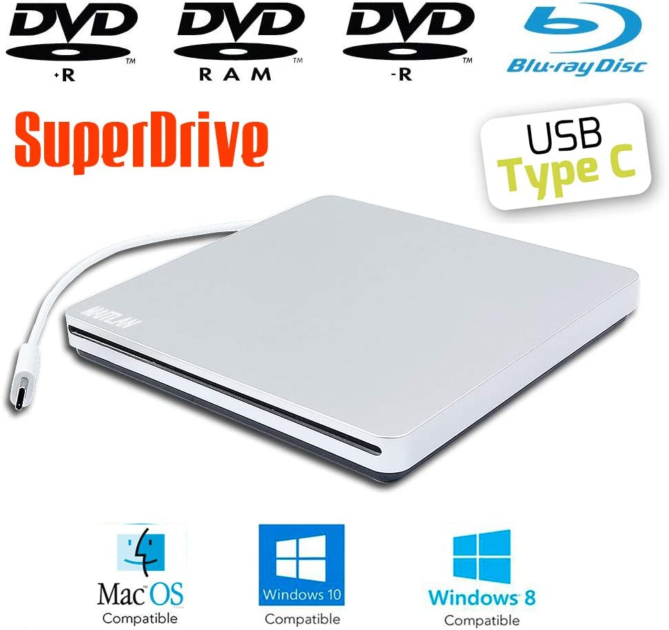 USB-C External Blu-ray and DVD Player SuperDrive for Apple MacBook Pro Laptop iMac Book Pro OS 27 21.5 Inch Mac Mini Desktop Computers, 8X DVD+-R/RW 24X CD-R Burner Slot Loading Optical Drive New