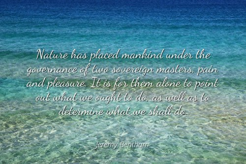 Jeremy Bentham - Famous Quotes Laminated POSTER PRINT 24x20 - Nature has placed mankind under the governance of two sovereign masters, pain and pleasure. It is for them alone to point out what we oug ()