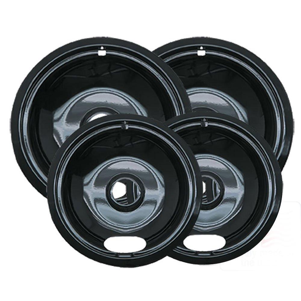 Range Kleen 4 Pack Black Porcelain Ge Drip Pans 2 Pack Of
