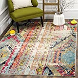 N2 1 Piece 3' x 5' Orange Red Southwest Theme Area Rug, Blue White Bohemian Eclectic Vintage Style Southwestern Shabby Chic Abstract Pattern, Bedroom Living Room Multi Color, Polypropylene Synthetic