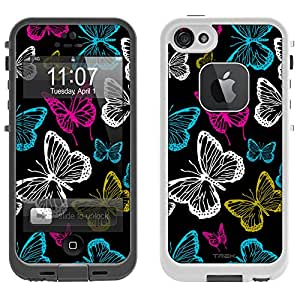 Skin Decal for LifeProof Apple iPhone 5 Case - Vivaciuos Butterflies on Black