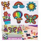 Window Paint Art Decor Kit for Kids Make Your Own Fun Suncatchers Set DIY Car Window & Mirror Arts & Crafts Stickers Kit for Children
