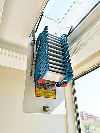 INTBUYING Escalera de pared para desván de 47.24 x 27.56 pulgadas, escalera de extensión para ático de acero al carbono, color azul y blanco: Amazon.es: Bricolaje y herramientas