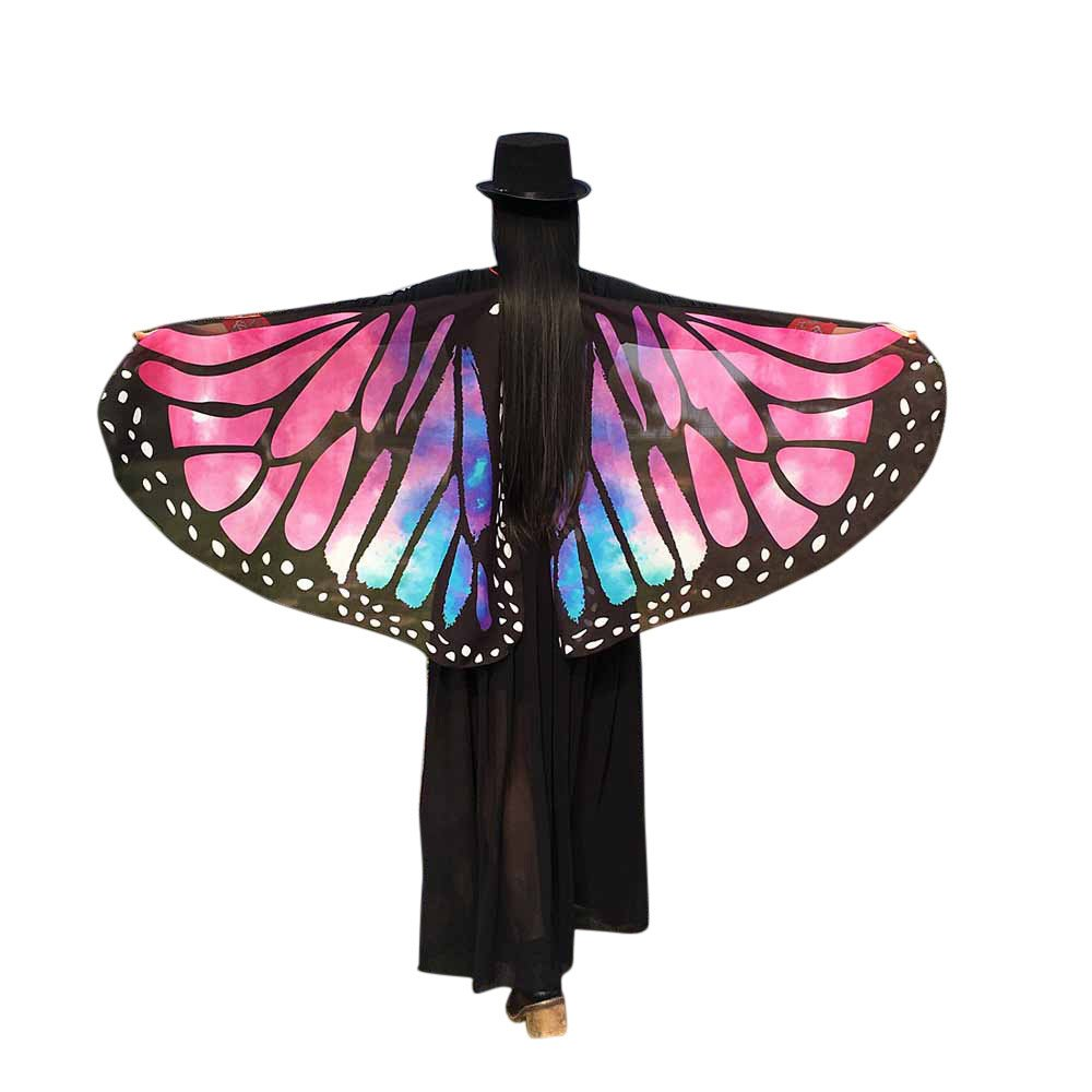 WOCACHI Vanlentine Day Halloween Costume Butterfly Wings Scarves, Women Cloak Cape Poncho Pixie Party Show Hot Pink