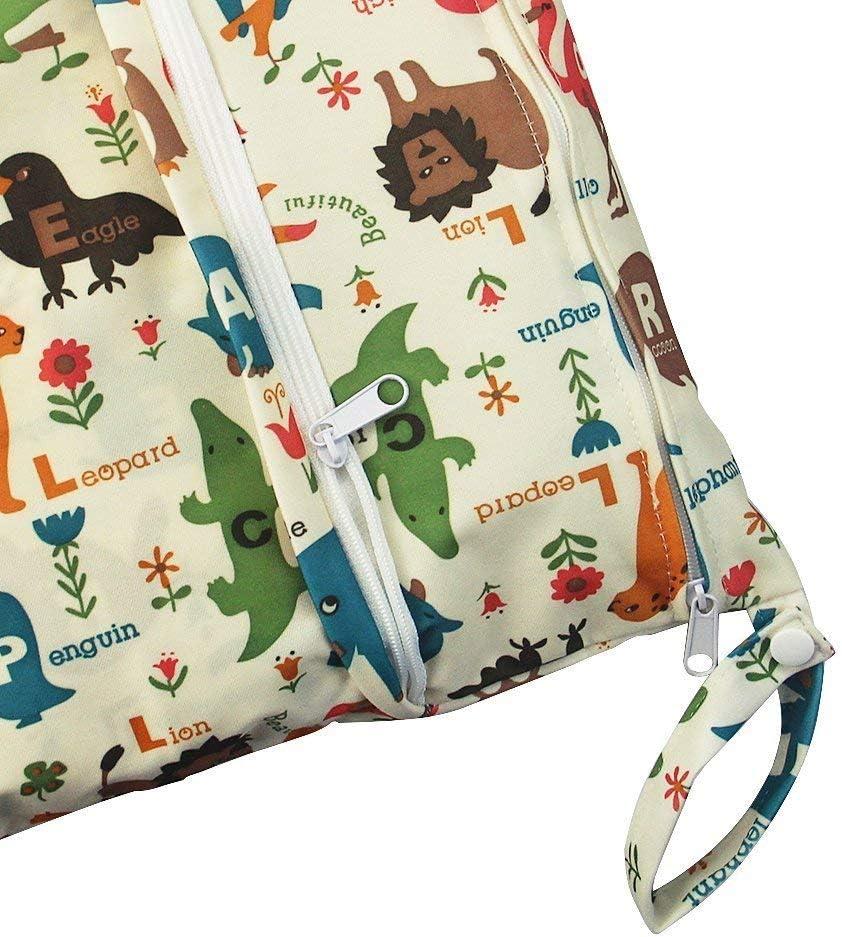 iZiv Beb/é Prueba de Agua Reutilizable Wet Dry Bag Reutilizable Impermeable Lavable Suspender Grandes Organizador Doble Cremallera Impresi/ón Bolsa de Pa/ñales Bolsas para Pa/ñales