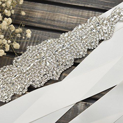 Remedios Bridal Sash Belt 338cm Rhinestone for Party Prom Evening Dresses,ivory