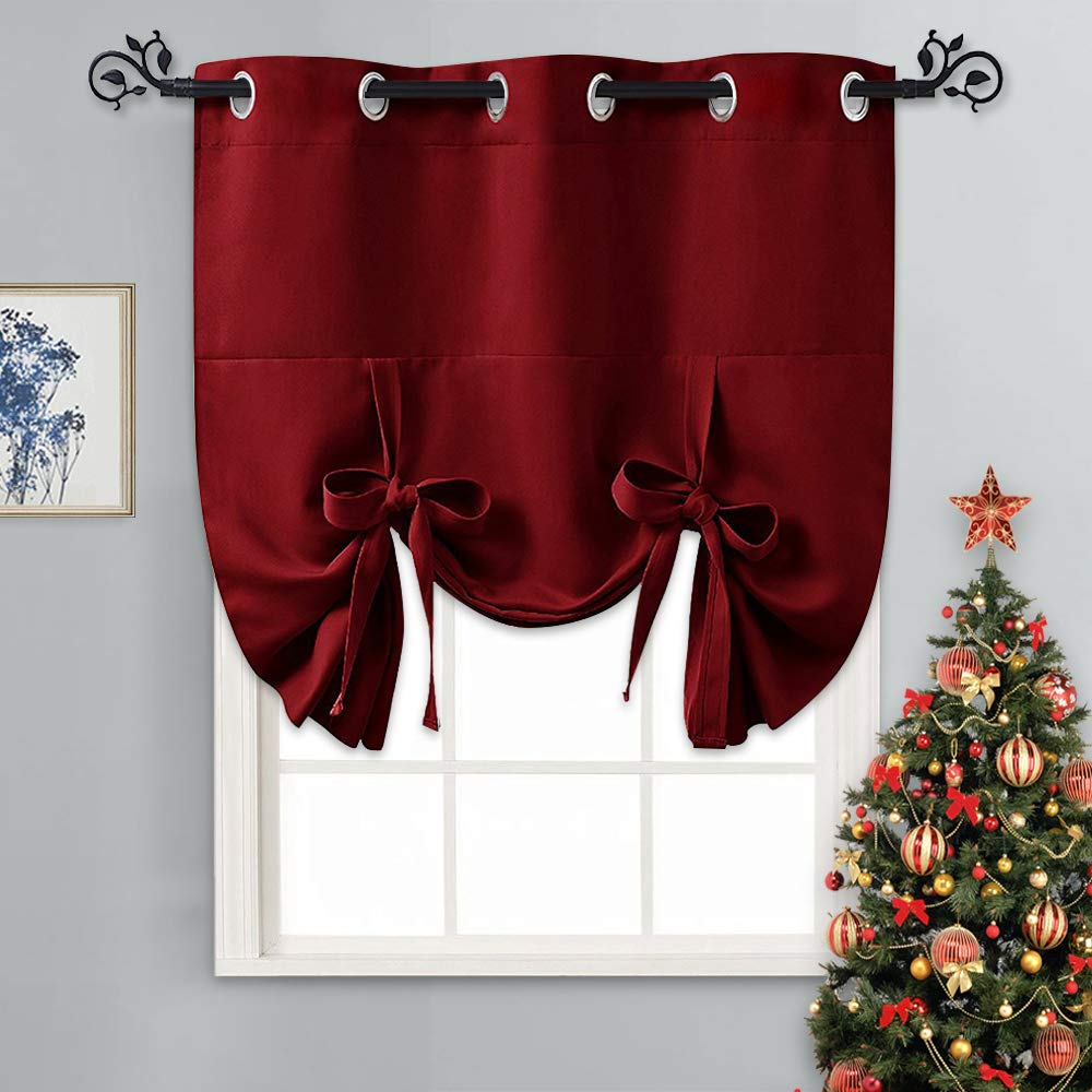 "PONY DANCE Short Window Curtains - Thermal Kitchen Blackout Shades for Home Décor Energy Saving Tie Up Valance Balloon Shade Grommet Top for Door, Set of 1, 46"" W x 63"" L, Red"