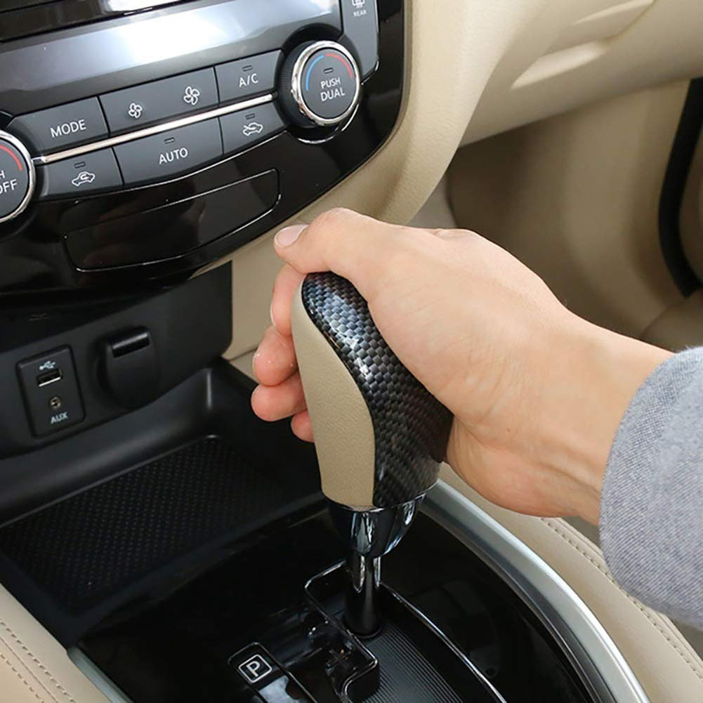 VEDONER Schaltknauf Center Konsole Schalthebel Abdeckung Schalthebelabdeckung Verkleidung f/ür 2014-18 Nissan X-Trail Rogue T32 Kohlefaser