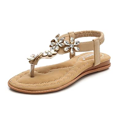 f32314ab150c Wollanlily Women s Bohemian Rhinestone Flat Sandals Summer Beach T-Strap  Elastic Flip Flop Thong Shoes