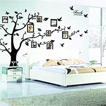 Zhiyu Art Decor Large Family Tree Wall Decal Decor Removable Photo Frame Tree Wall Decor Picture Frames Tree Wall Stickers For Living Room Wall Decor