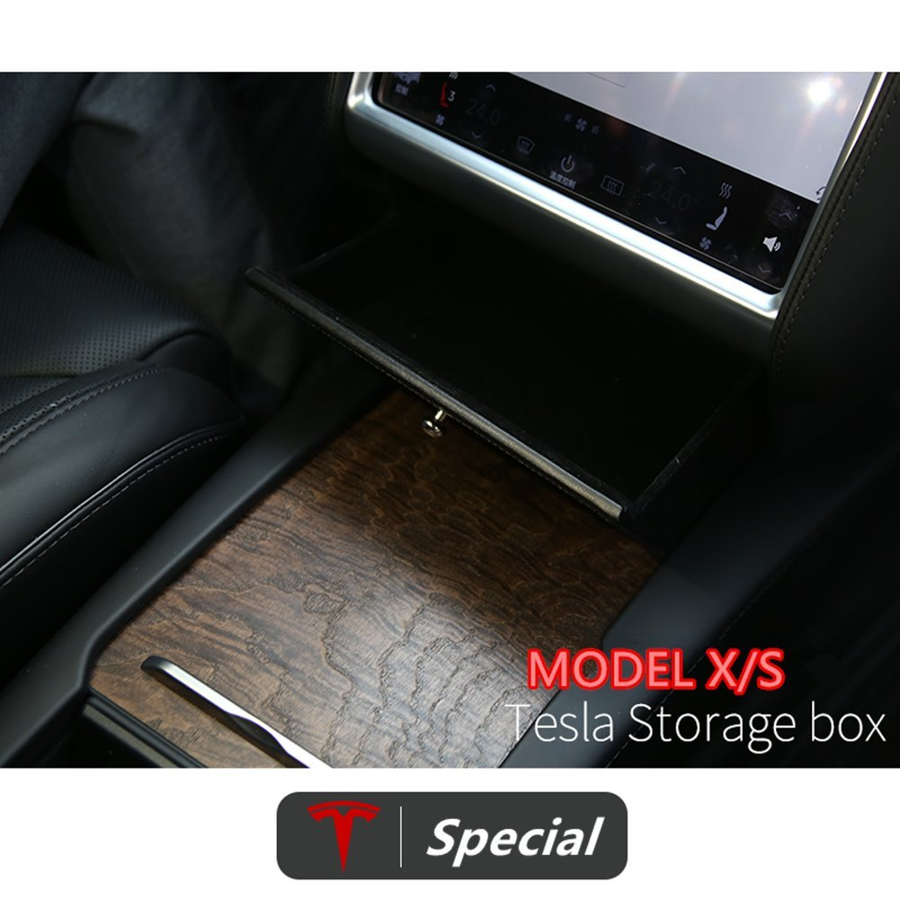 Black DELEIKA Car Center Console Wooden Drawer storage Box Glasses Box Customized For Tesla X Tesla S