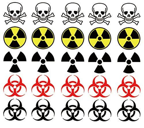 Warning Symbol Temporary Tattoos: Biohazard, Radiation, Poison -