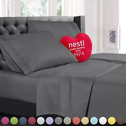 Queen Size Bed Sheets Set Gray, Highest Quality Bedding Sheets Set On  Amazon, 4