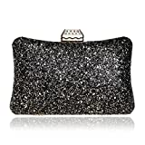 SJLN Women's Fashion Evening Bags Banquet Sequins Europe And America Parties Shoulder Bags Diagonal Dating Nightclubs Bars Handbags,Black-OneSize