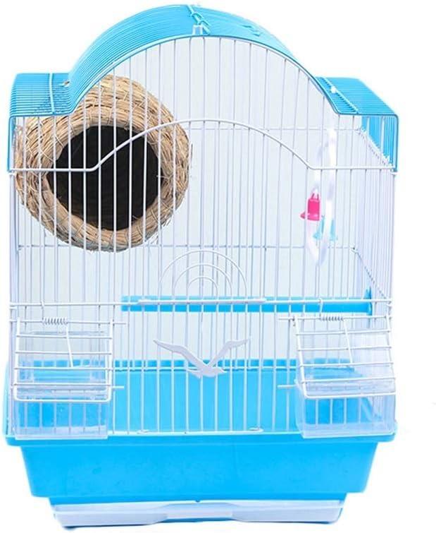 Jaula De Pájaros con Pajarera por Periquito Pájaros del Amor Mejilla Verde Canario Perico Cacatúa Nidos para pájaros (Color : Azul, tamaño : A-30×23×38cm)