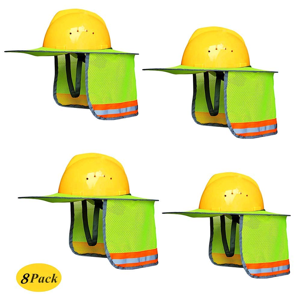 Nurth 8 packs Hard Hat Sun Shield with Neck Shield, Design of Riser vent and reflective strip, Full Brim Mesh Neck Sunshade - Fits Full & Standard Brim Safety Helmets.For Construction & Landscaping