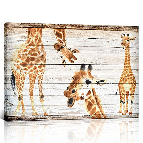 s Wall Art Dual View 3 Cute Giraffes Picture on Wood Background Girls and Boys Gifts Framed Wall Decor for Nursery Room Ready to Hang 24