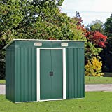 Peach Tree 6' x 4' Outdoor Backyard Metal Garden Utility Storage Shed Heavy Duty Tool House W/ Sliding Door (Green)